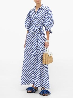 Evi Grintela Iris Fil-coupe Striped Cotton Shirtdress - Womens - Blue Stripe