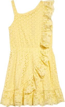 BCBGMAXAZRIA Girl Eyelet Embroidered Ruffle Dress