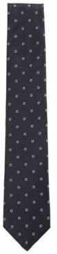 HUGO BOSS - Circle Motif Tie In Silk Jacquard - Dark Blue