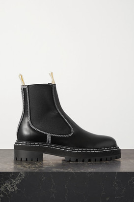 Proenza Schouler Topstitched Leather Chelsea Boots - Black