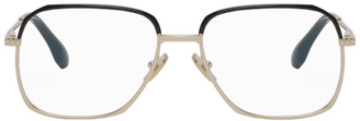 Victoria Beckham Black and Gold Half-Rim Glasses