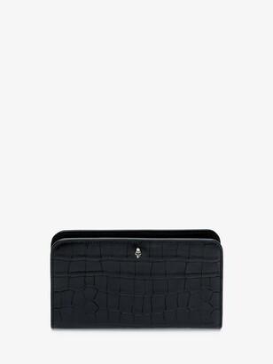 Alexander McQueen Embossed Croc Zipper Wallet
