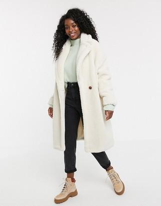 Qed London QED London oversized coat in borg-Cream