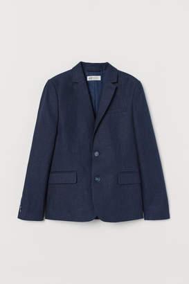 H&M Linen-blend Blazer - Blue