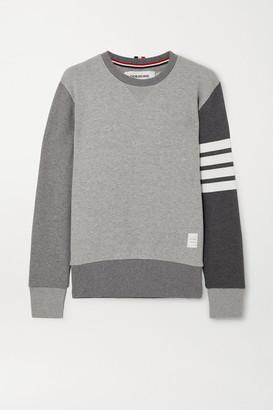 Thom Browne Color-block Striped Cotton-jersey Sweatshirt - Gray
