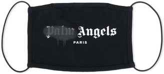 Palm Angels Black And Grey Paris Sprayed Logo Face Mask
