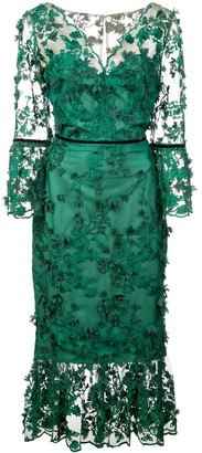 Marchesa Embroidered Midi Tea Dress