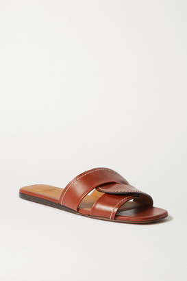 Chloé Candice Topstitched Leather Slides - Brown