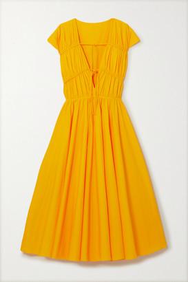 TOVE Ceres Tie-detailed Gathered Cotton-poplin Midi Dress - Marigold