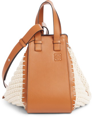 Loewe Small Hammock Knit & Leather Hobo