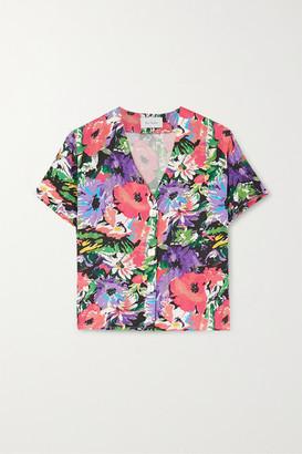 ART DEALER Olivia Floral-print Silk-blend Shirt - Purple