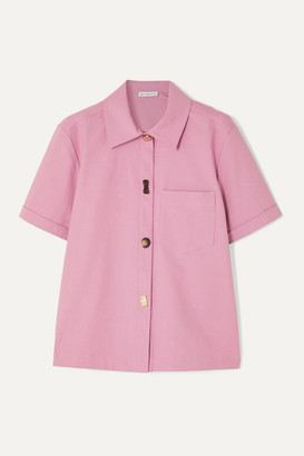 REJINA PYO Nico Button-embellished Cotton-blend Twill Shirt - Lilac