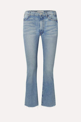 Mother The Hustler Cropped Frayed High-rise Flared Jeans - Mid denim