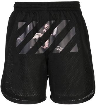 Off-White Caravaggio arrow mesh track shorts