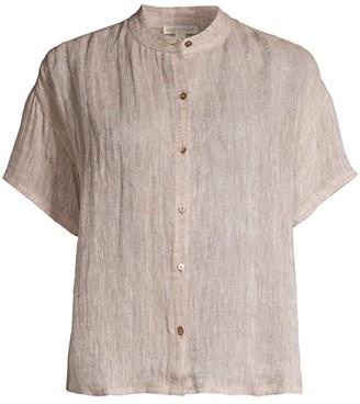 Eileen Fisher Mandarin Collar Short-Sleeve Shirt