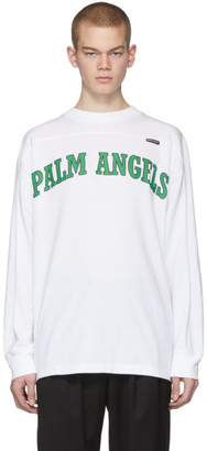 Palm Angels White New College Logo Over Long Sleeve T-Shirt