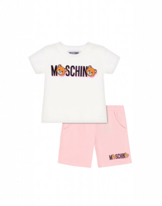 Moschino Teddy Logo T-shirt And Shorts Combination Unisex White Size 2a It - (2y Us)