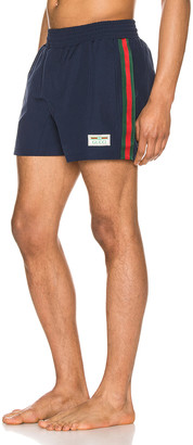 Gucci Waterproof Nylon Swim Shorts With Web in Blue & Green & Red | FWRD
