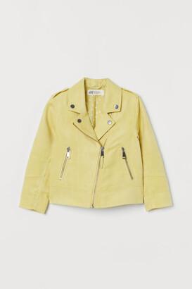 H&M Faux Suede Biker Jacket - Yellow