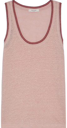 Rag & Bone Molly Crochet-trimmed Slub Linen-jersey Tank