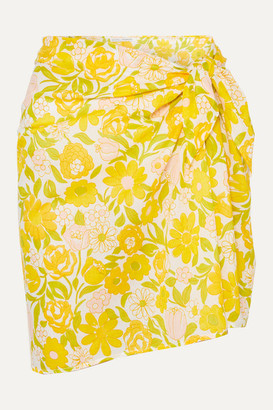 Faithfull The Brand Floral-print Cotton-voile Pareo - Pastel yellow