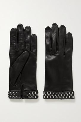 Agnelle Studded Leather Gloves - Black