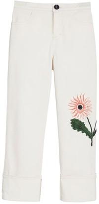 Oscar de la Renta Flower Embroidered Pants