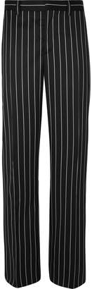 Burberry Black Wide-Leg Pinstriped Virgin Wool-Blend Suit Trousers