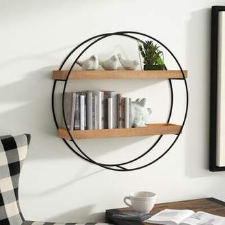Gracie Oaks Maisha Round Metal and Wood Wall Shelf Gracie Oaks