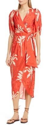 Johanna Ortiz Belted Jacquard Midi Wrap Dress