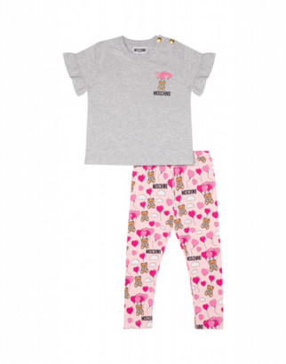 Moschino Heart Balloons Teddy Bear T-shirt And Leggings Set Unisex Pink Size 6/9m It