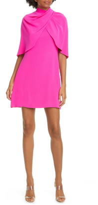 Brandon Maxwell Cape Back A-Line Minidress