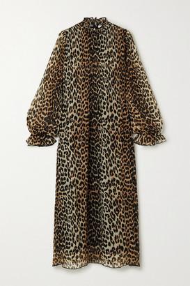 Ganni Leopard-print Plisse-georgette Midi Dress - Leopard print