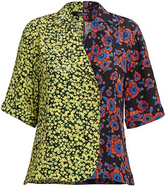 Rokh Hawaiian Mixed Print Bowling Shirt