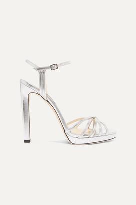Jimmy Choo Lilah 120 Metallic Leather Platform Sandals - Silver