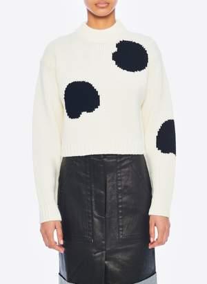 Tibi Polka Dot Intarsia Sweater Cropped Pullover