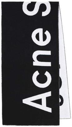 Acne Studios black and white logo scarf