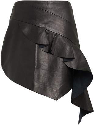 Atoìr Asymmetric Leather Mini Skirt