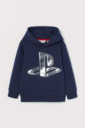 H&M Hoodie with Design - Blue