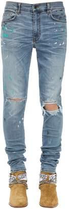 Amiri 15cm Paint Splatter Cotton Denim Jeans