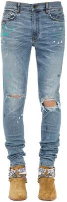 Amiri 15CM PAINT SPLATTER COTTON DENIM JEANS