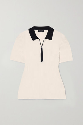 Rag & Bone Cadee Two-tone Ribbed-knit Polo Shirt - White