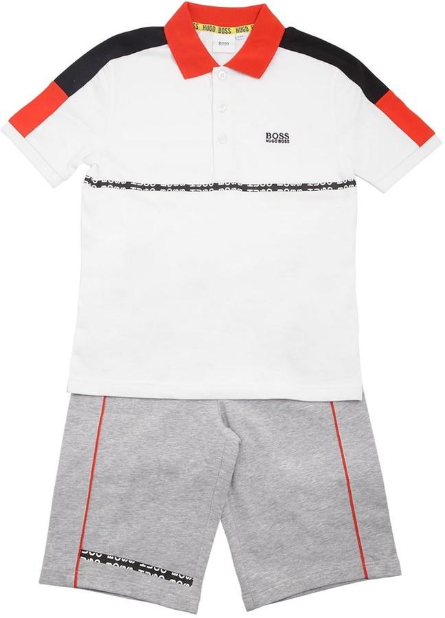 HUGO BOSS Cotton Jersey Polo Shirt & Sweat Shorts