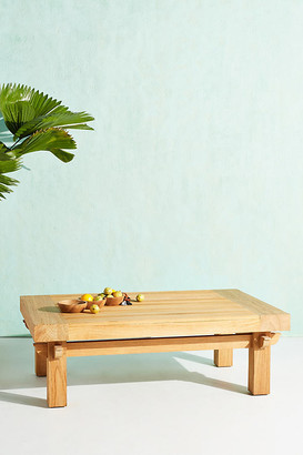 Anthropologie Teak Coffee Table By in Beige Size ALL