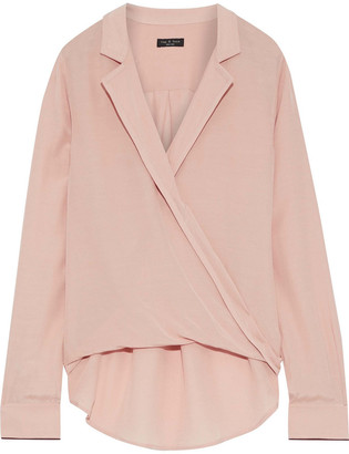 Rag & Bone Dean Wrap-effect Satin-crepe Top