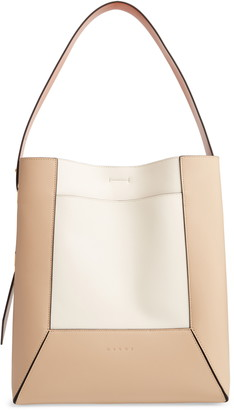 Marni Nemo Colorblock Leather Hobo Bag