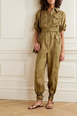 Zimmermann Super Eight Belted Linen Jumpsuit - Army green