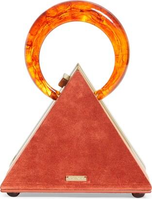 Cult Gaia Thalia Pyramid Top Handle Suede Bag
