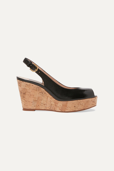 Jean Glossed Textured leather Slingback Wedge Sandals Black