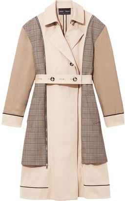 Proenza Schouler belted plaid detail trench coat